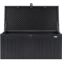 Christow Waterproof Garden Storage Box 190L - Black & Grey