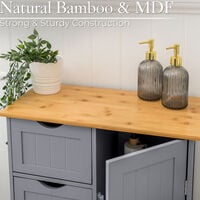 Grey & Bamboo 4 Drawer Cabinet