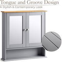 Grey & Bamboo Mirrored Cabinet