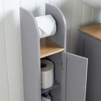 Grey & Bamboo Toilet Roll Cabinet