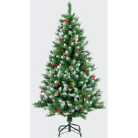 Snow Frosted Artificial Christmas Tree With Cones & Berries - 5ft
