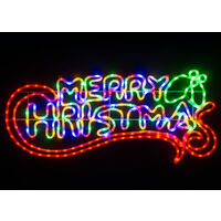 Merry Christmas Rope Light Silhouette - 100cm