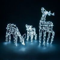 White Wire Light Up Reindeer Family