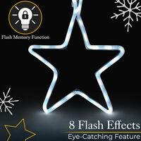 Flashing 5 Star Rope Light - White