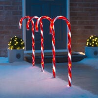 Christow Large Mains Powered Candy Cane Pathway Lights 58cm 4 Pack - Red & White (Mains)