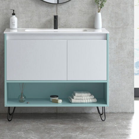 Mueble de baño de 100 cm + lavabo de cerámica | Manhattan | L 100 X A 86,8 X P 45 cm Azul Aqua Blanco + Patas Hairpin