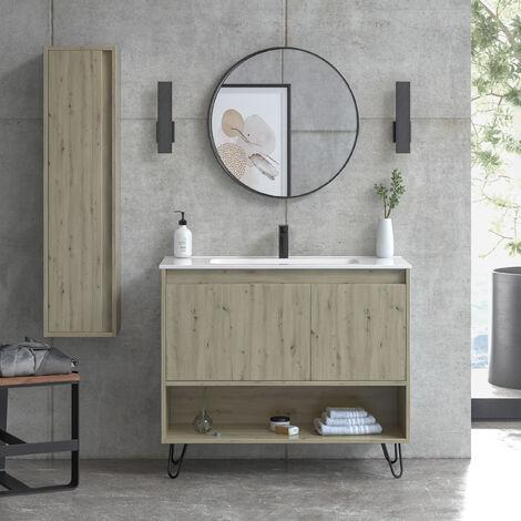 Mueble de baño de 100 cm + lavabo de cerámica   Manhattan   L 100 X A 86,8 X P 45 cm Roble Amazonia + Patas Hairpin