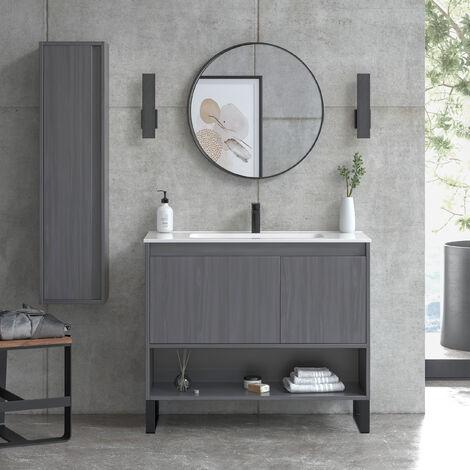 Mueble de baño de 100 cm + lavabo de cerámica | Manhattan | L 100 X A 86,8 X P 45 cm Roble Mina + Patas Varma