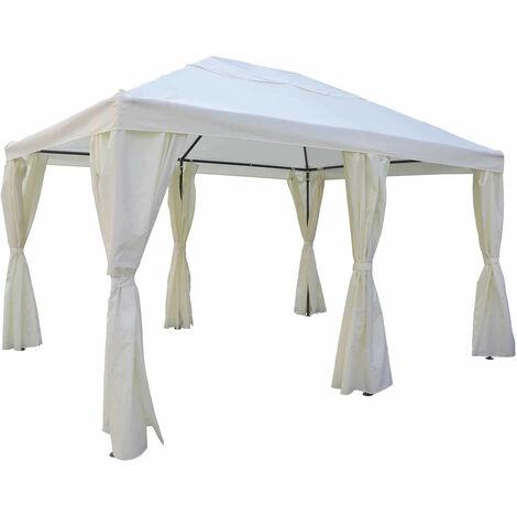 Gazebo Cenador de Exterior Chillvert Creta de Acero con Toldo 394x296x199/278 cm