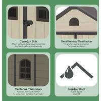 Caseta de Resina Gardiun Alessia A - 3,57 m² 190x188x225 cm con Suelo y Ventanas Beige - KSP38191