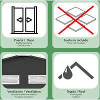 Caseta Metálica Gardiun Bristol 7,74 m² Exterior 241x321x205 cm Acero Galvanizado Gris Antracita - KIS12962
