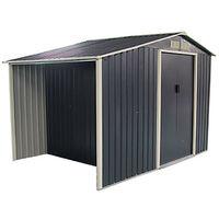 Caseta Metálica Gardiun Ontario Con Leñero 5,31 m² Exterior 191x278x195 cm Acero Galvanizado Gris Antracita - KIS12972