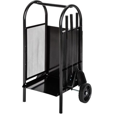 Carrito para leña con pala, atizador y escobilla - carro de transporte con ruedas, carro con estructura de chapa y atizador, carretilla para transportar leña - black