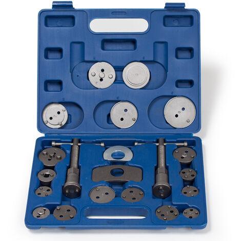 Conjunto de 22 piezas para reposicionar pistones de freno - kit reposicionador de pistones de freno, retractor de pistones de acero para taller mecánico, set de herramientas universales de árboles de rosca con maletín - azul