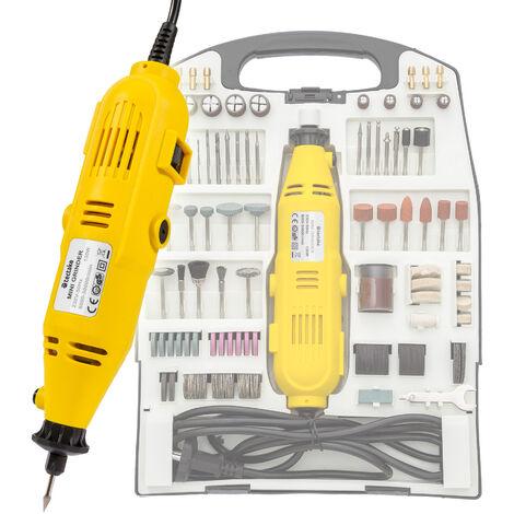 Set de mini lijadora 243 piezas con maletín - lijadora eléctrica de fácil manejo, lijadora de mano metálica para taladrar y lijar, lijadora de madera con maletín y accesorios - amarillo