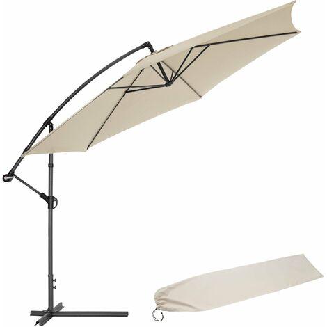 Sombrilla 350cm - parasol excéntrico de jardín, sombrilla metálica para terraza con funda, quitasol con inclinación graduable - beige