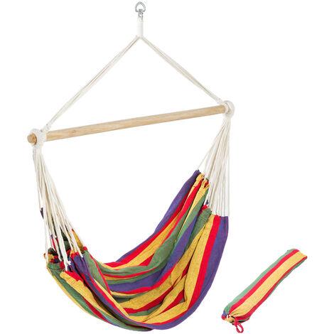 Hamaca-sillón XXL de colores con bolsa - sillón colgante para jardín, hamaca multicolor de algodón y poliéster con barra de madera, hamaca con soporte y bolsa de transporte - Varios colores