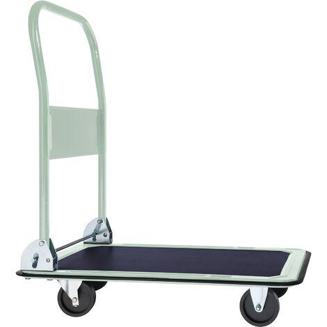 Carretilla plegable máx. 150kg de carga - transpaleta con pedal de accionamiento, carretilla de acero con ruedas para macetas, carretilla manual para mudanzas - blanco