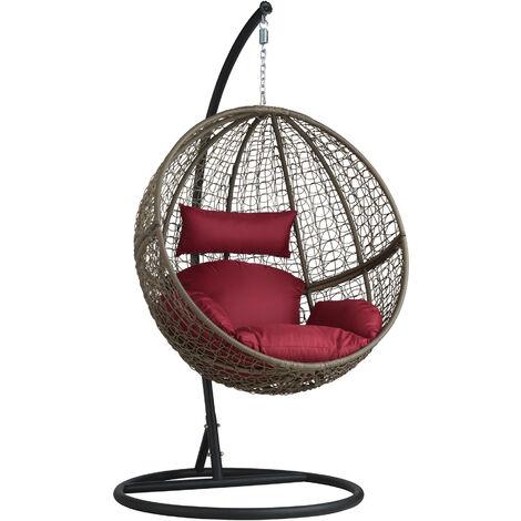 Sillón colgante redondo de ratán con soporte - sillón tipo hamaca para salón, muebles de ratán sintético con cojines y fundas, asiento de jardín con pie de acero - marrón