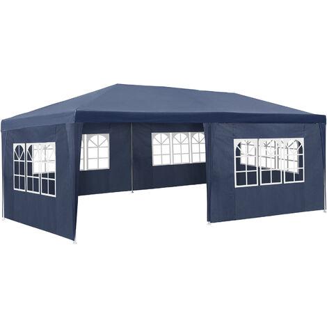 Pabellón 6x3m con 5 paneles laterales - cenador de jardín con piquetas, carpa para fiestas con estructura robusta, gazebo impermeable con ventanas - azul
