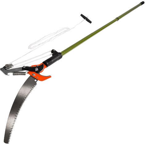 Cortarramas telescópico con tracción de cable y sierra - desbrozadora con mango, tijeras con sierra de acero con cuerda de tracción, herramienta de jardín para cortar y serrar - verde