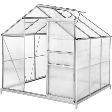 Invernadero de aluminio y policarbonato con base - invernadero de jardín para frutas y verduras, construcción de aluminio con puerta corredera, protección contra viento y lluvia - 190 x 185 x 195 cm - transparente