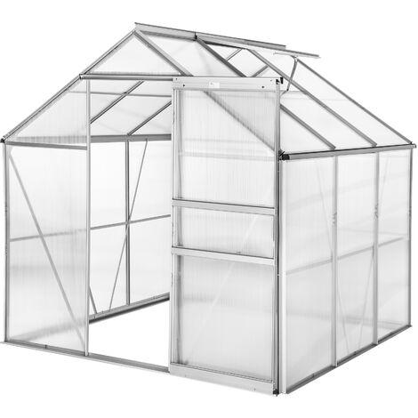 Invernadero de aluminio y policarbonato sin base - invernadero de jardín para frutas y verduras, construcción de aluminio con puerta corredera, protección contra viento y lluvia - 190 x 185 x 195 cm - transparente