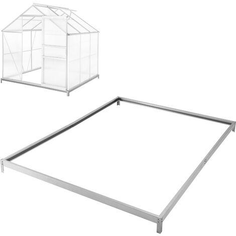 Cimientos para invernadero - base para invernadero de acero, esquinas con estacas para sujetar al suelo, base estable para anclaje al suelo - 190 x 190 x 12 cm - plata