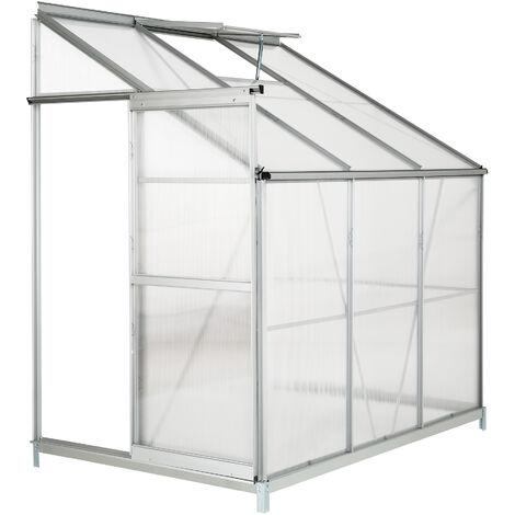 Invernadero lateral con cimientos - invernadero de jardín para frutas y verduras, construcción de aluminio con puerta corredera, protección contra viento y lluvia - transparente