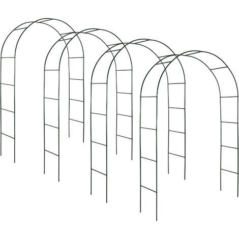 4 Arco para enredaderas aprox. 240cm - arco para flores estable, arco de jardín de acero elegante para plantas, soporte para planta trepadora - verde