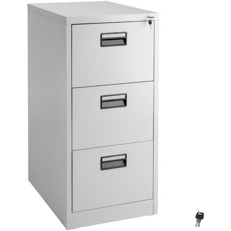 Archivador con 3 cajones - cajonera metálica de oficina, mueble archivador de acero con cerradura, cajonera de metal con colgadores - gris