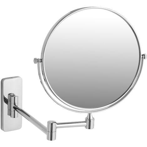 Espejo de maquillaje - espejo redondo para baño, espejo de doble cara con aumento para tocador, espejo para camerino orientable - 7 aumentos - plata