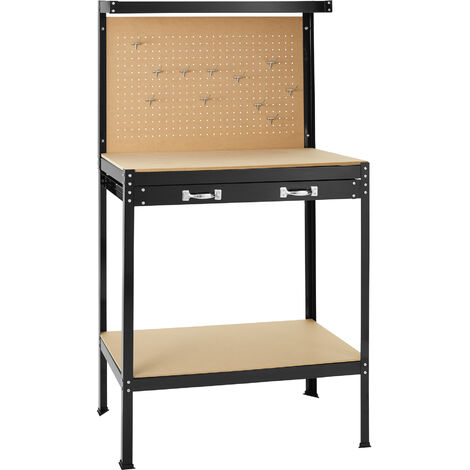 Banco de trabajo con cajón - banco de trabajo universal, banco carpintero con panel superior perforado, banco para bricolaje de acero y madera - 81 x 41 x 145 cm - negro