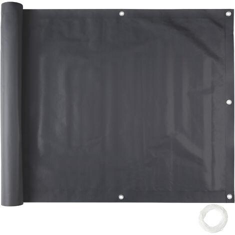 Revestimiento para balcón, versión 1 - panel resistente de protección, revestimiento exterior para privacidad con cuerda, pantalla contra miradas indiscretas - 75 cm - negro