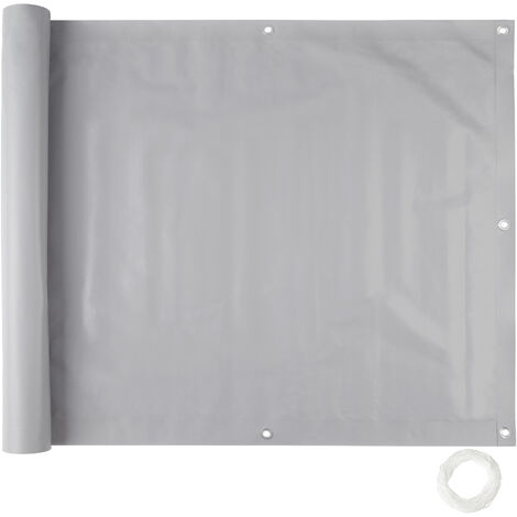 Revestimiento para balcón, variante 1, - panel resistente de protección, revestimiento exterior para privacidad con cuerda, pantalla contra miradas indiscretas - 75 cm - gris