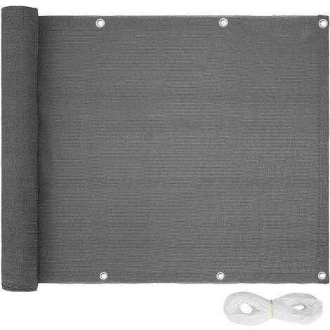 Protección visual para balcón, variante 2 - panel resistente de protección, revestimiento exterior para privacidad con cuerda, pantalla contra miradas indiscretas - 75 cm - gris