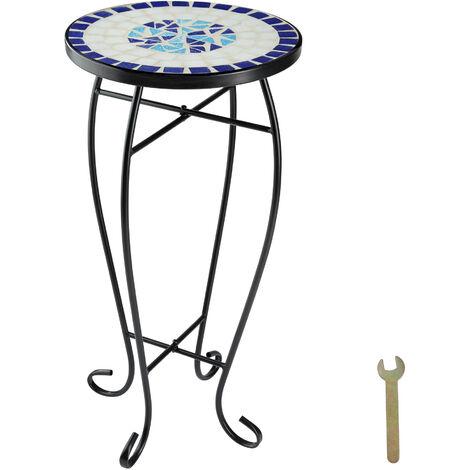 Mesa auxiliar de balcón para macetas mosaico - mesa alta de acero para terraza, mesa elegante colorida con patas curvadas, mueble de exterior con decorado de mosaico - blanco/azul