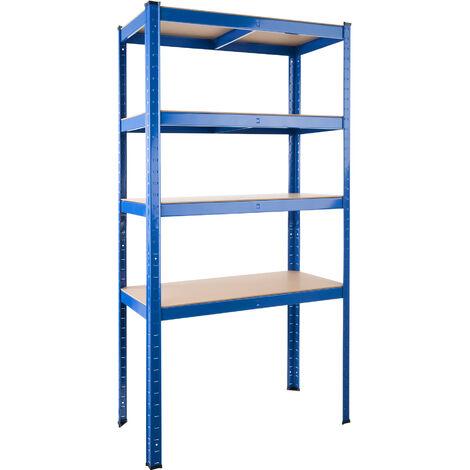 Estantería metálica 4 baldas - estantería metálica de acero, estantes ajustables de metal para trastero, anaqueles con esquinas redondeadas - azul