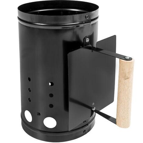 Encendedor de carbón con protector térmico - encendedor para barbacoas, encendedor para asador de carbón, encendedor para asador portátil - negro
