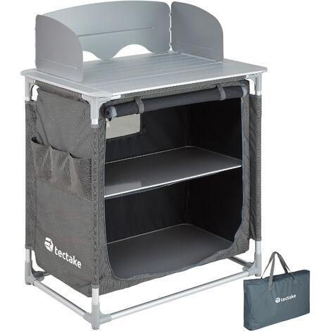 Cocina de camping 76x53,5x107cm - cocina plegable de madera y aluminio, cocinilla de camping para cocina de gas con bolsa, cocina de camping gas con patas ajustables - gris