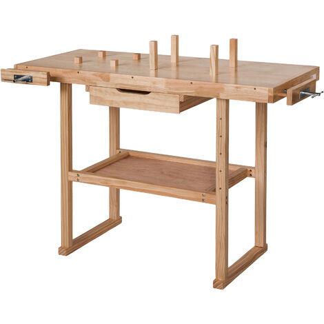Banco de trabajo de madera con tornillos de banco modelo 1 - banco de taller con ganchos, banco carpintero con tornillos de banco laterales, banco para bricolaje de madera - marrón