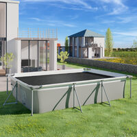 Cubierta solar para piscina negro rectangular - lona para cubrir piscinas, cubre piscinas flotante para cortar a medida, cobertor solar ligero para piscina - 400 x 600 cm - negro