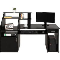 Mesa escritorio para ordenador 164,5cm - mesa de escritorio para dormitorio, mesa de estudio moderna para oficina, escritorio con estantes y bandeja - negro
