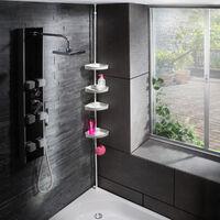 Estantería de esquina universal telescópica para duchas 120-250cm - repisas para baño, baldas para baño, estantes para dentro de la ducha - blanco