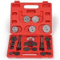 Conjunto de 22 piezas para reposicionar pistones de freno - kit reposicionador de pistones de freno, retractor de pistones de acero para taller mecánico, set de herramientas universales de árboles de rosca con maletín - rojo