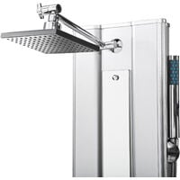 Columna de ducha con 10 jets de hidromasaje - columna de baño moderna con flexo, columna de hidromasaje para cabina de ducha, conjunto de ducha con espejo - plata