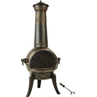 Estufa de leña de hierro fundido para terraza - calefacción a leña con chapa de acero, estufa con puerta de rejilla anti chispas, chimenea con válvula de ventilación - gris