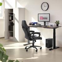 Armario archivador con cierre de seguridad y 5 alturas - armario metálico de oficina, mueble archivador de acero con cerradura, armario de metal multiusos - gris