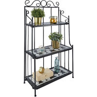 Estantería de forja y mosaico 3 estantes - soporte a tres alturas para macetas, estantería metálica en escalera para exterior, base para macetas en interior - negro/blanco