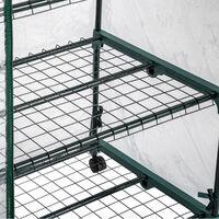 Invernadero con 3 estantes 69x49x125 cm - invernadero de jardín para frutas y verduras, invernadero con estructura de acero y entrada enrollable, protección contra viento y lluvia - transparente